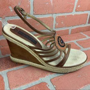ELLEMENNO Brown Platform Wedge Sandals
